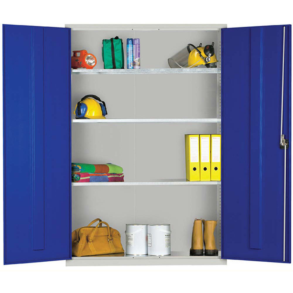 Standard Cupboard Extra Wide 1830 x 1220 x 457mm (Grey Cabinet and Blue Doors)