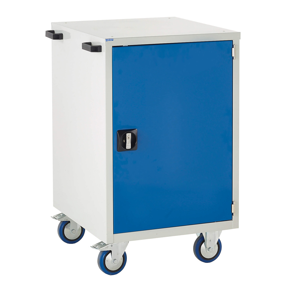 Edubench Mobile System - Cupboard H980mm x W600 x D650 (Grey Cabinet and Blue Doors)