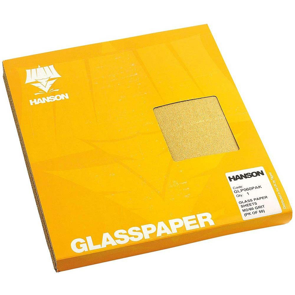 Hanson Glass Paper Sheets F2/100 Grit (pk of 50)