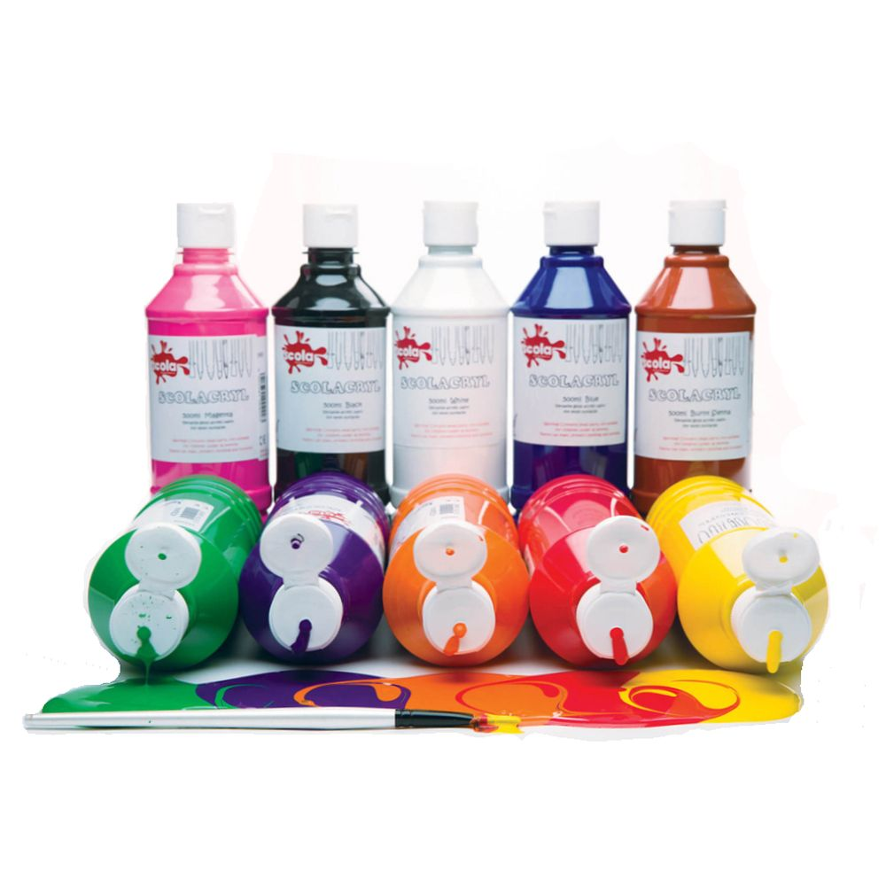 Acrylic Paint Assorted 500ml - pack of 6