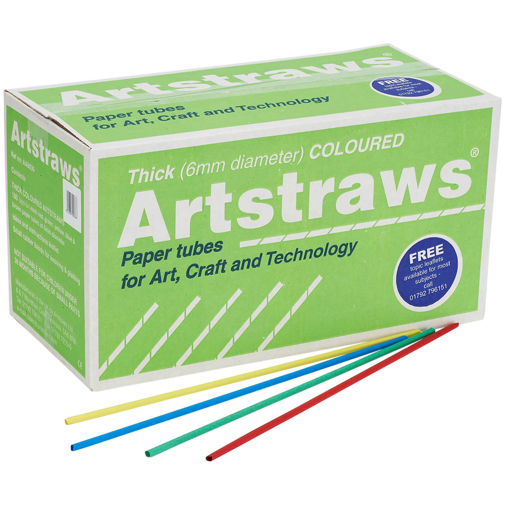 Artstraws Assorted Colours 6mm - pack of 900