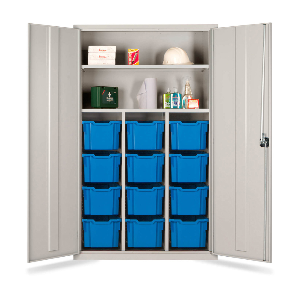 Combi Storage Cupboard - 12 extra deep blue trays (Grey Cabinet and Doors)