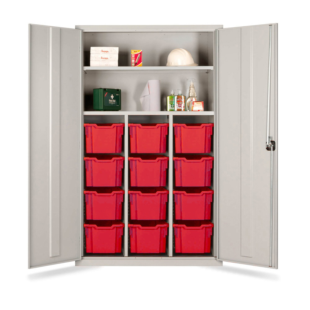 Combi Storage Cupboard - 12 extra deep red trays (Grey Cabinet and Doors)