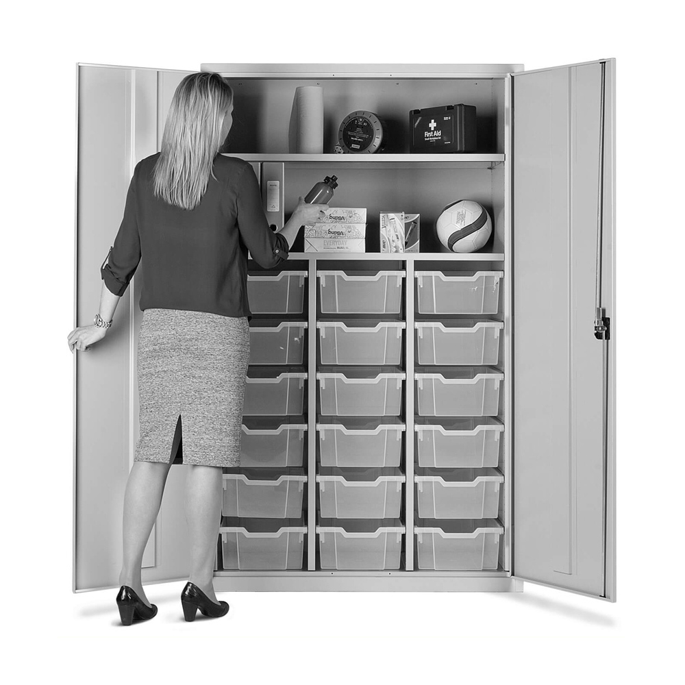 Combi Storage Cupboard - 18 deep red trays (Grey Cabinet and Doors)