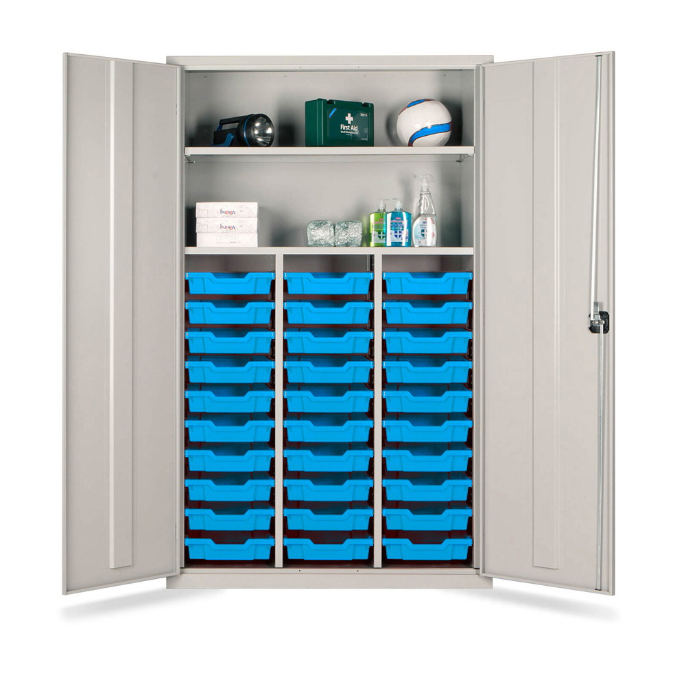 Combi Storage Cupboard - 30 shallow blue trays (Grey Cabinet and Doors)