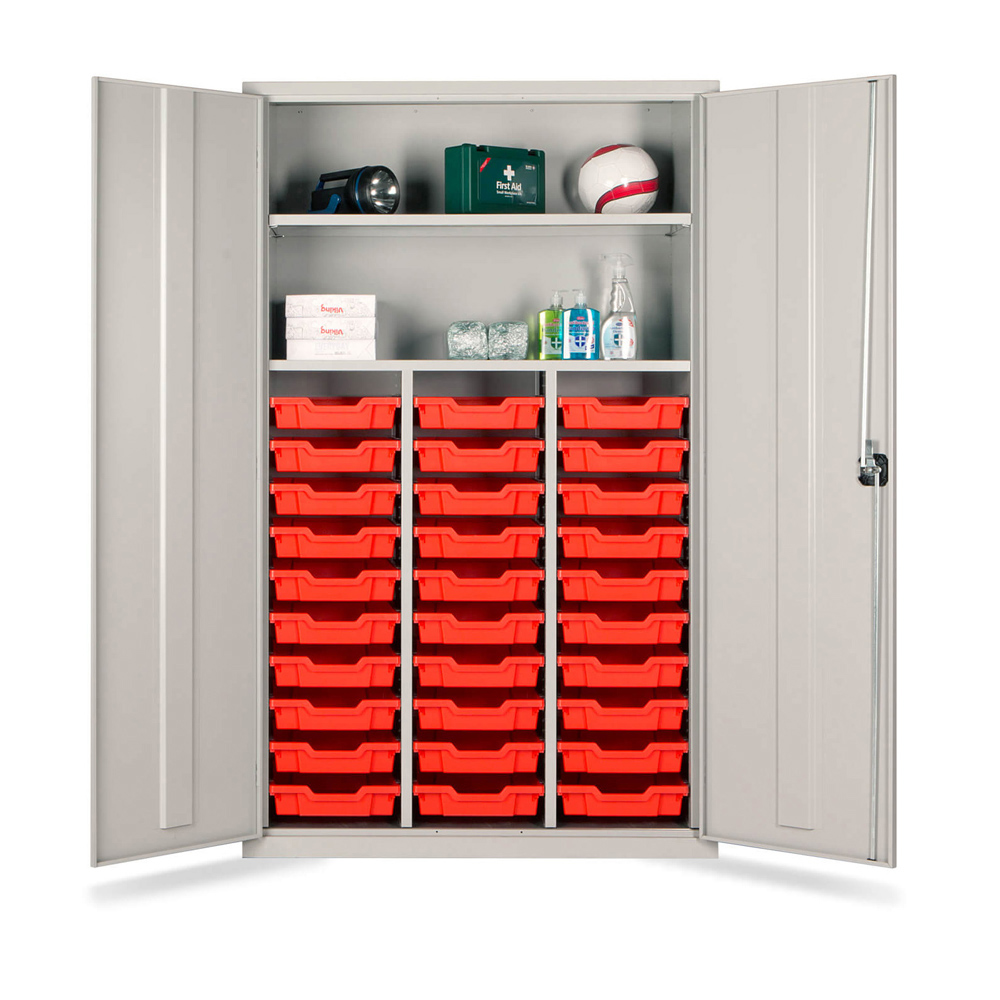 Combi Storage Cupboard - 30 shallow red trays (Grey Cabinet and Doors)