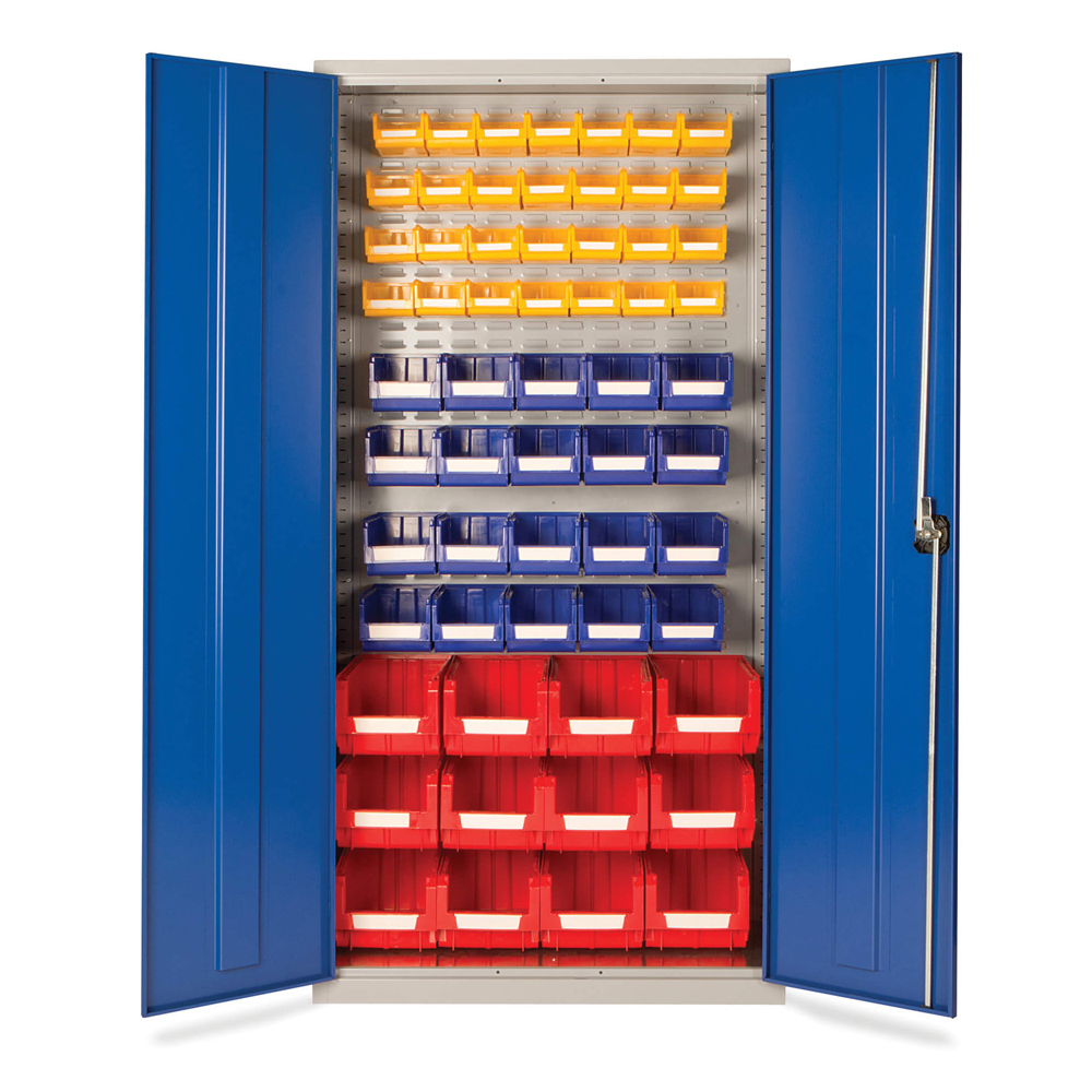 Small Parts Storage Cupboard - supplied with 60 bins (Grey Cabinet and Blue Doors)