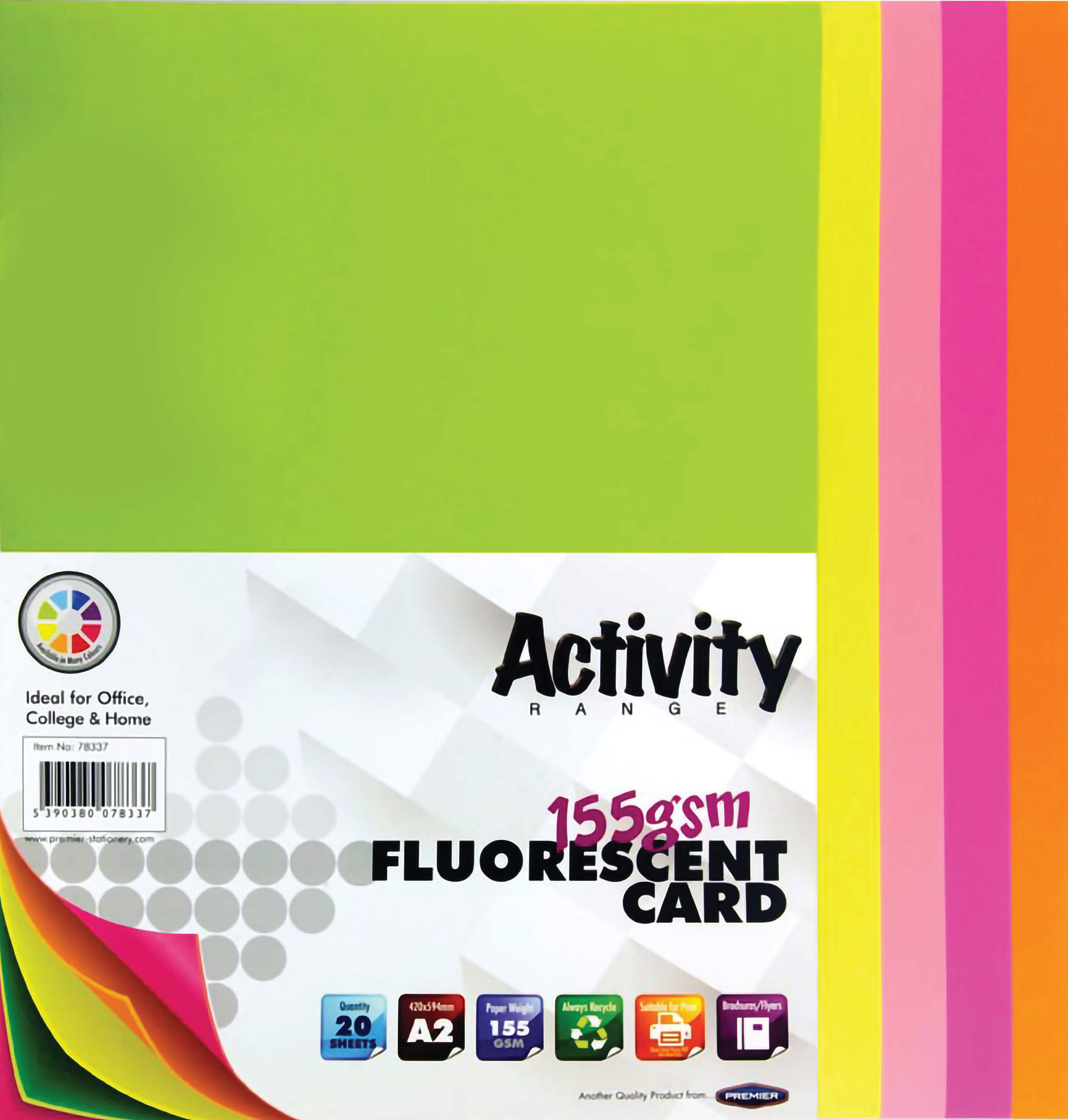 Card Fluorescent A2 155gsm - 20 Sheets