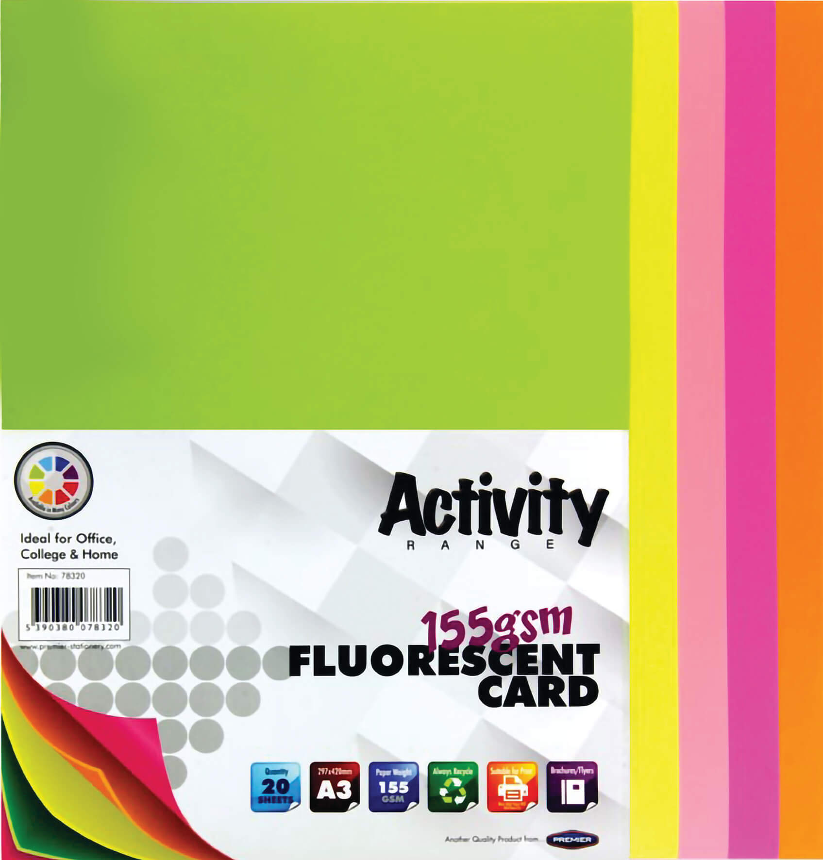 Card Fluorescent A3 155gsm - 20 Sheets