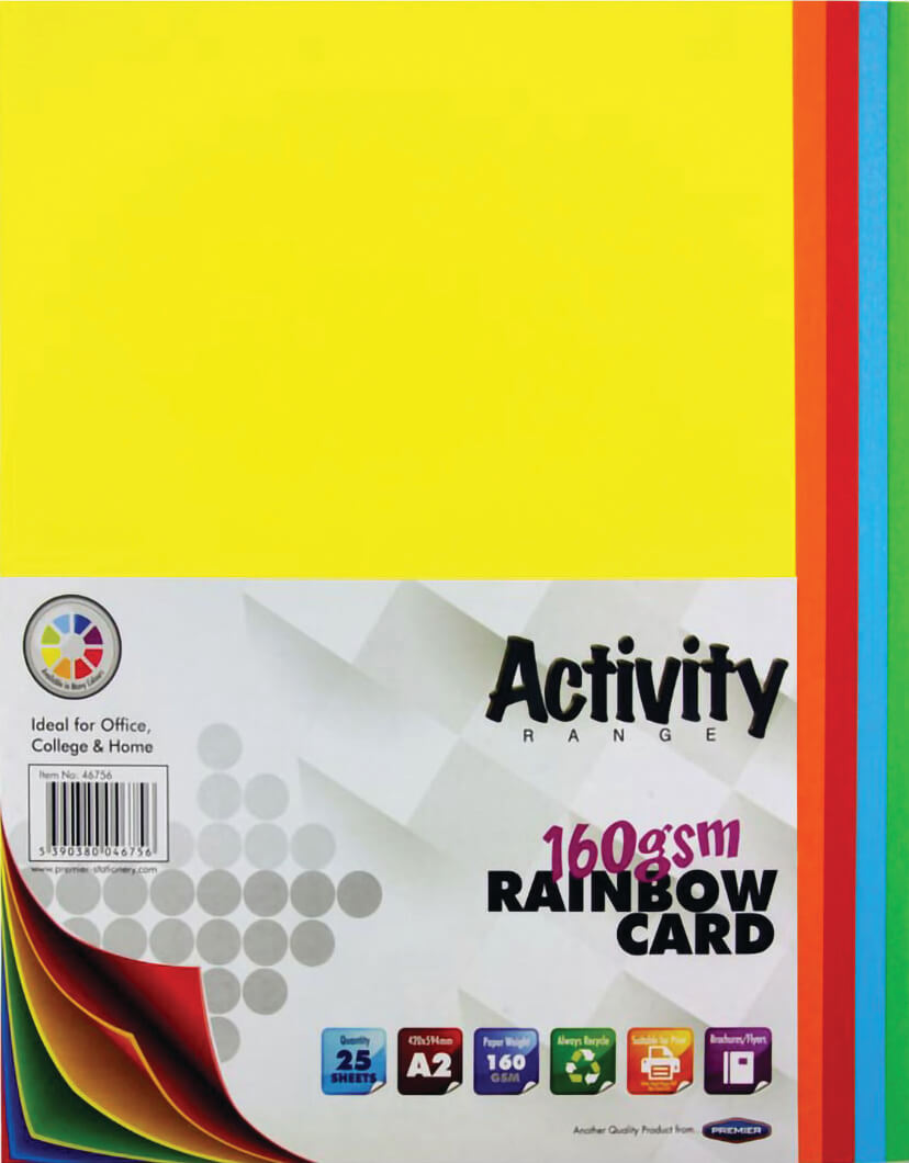 Card Rainbow A2 160gsm - 25 Sheets