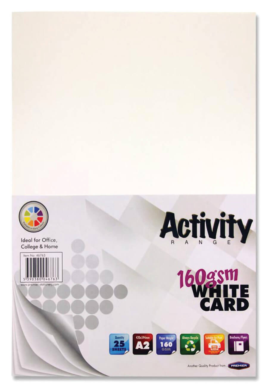 Card White A2 160gsm - 25 Sheets