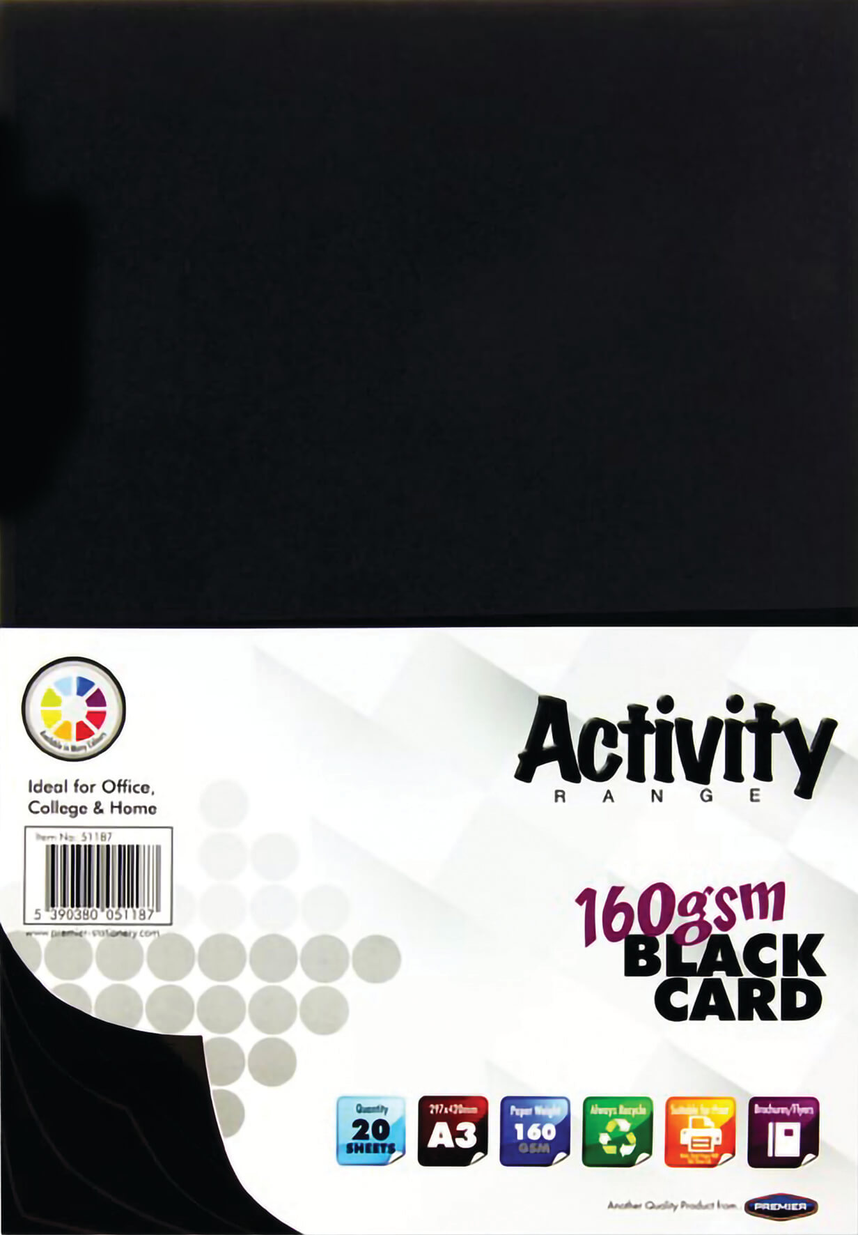 Card Black A3 160gsm - 20 Sheets