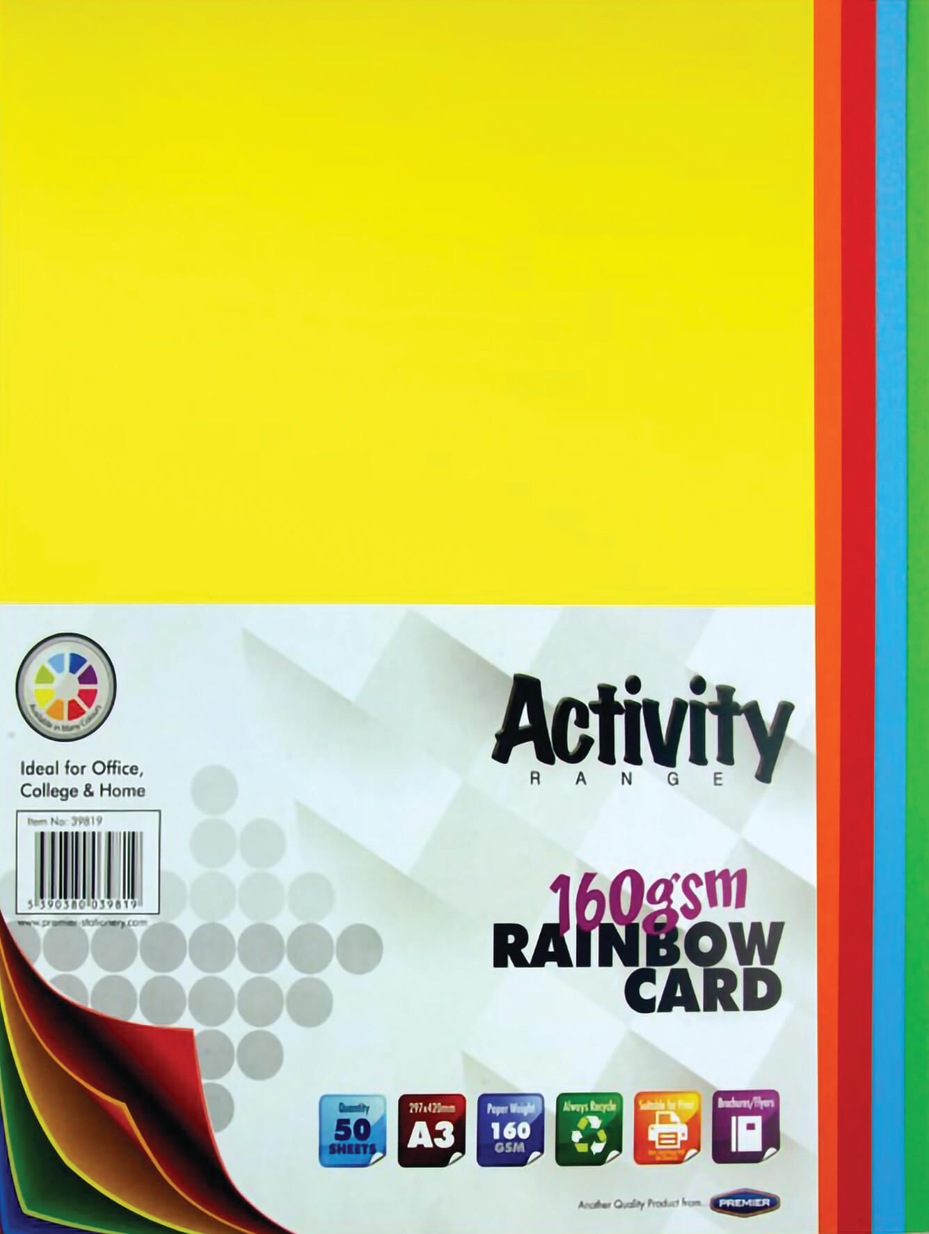Card Rainbow A3 160gsm - 50 Sheets