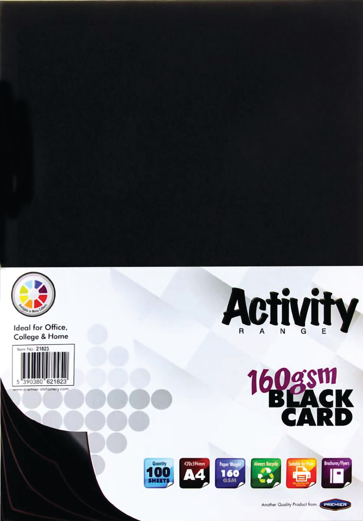 Card Black A4 160gsm - 100 Sheets