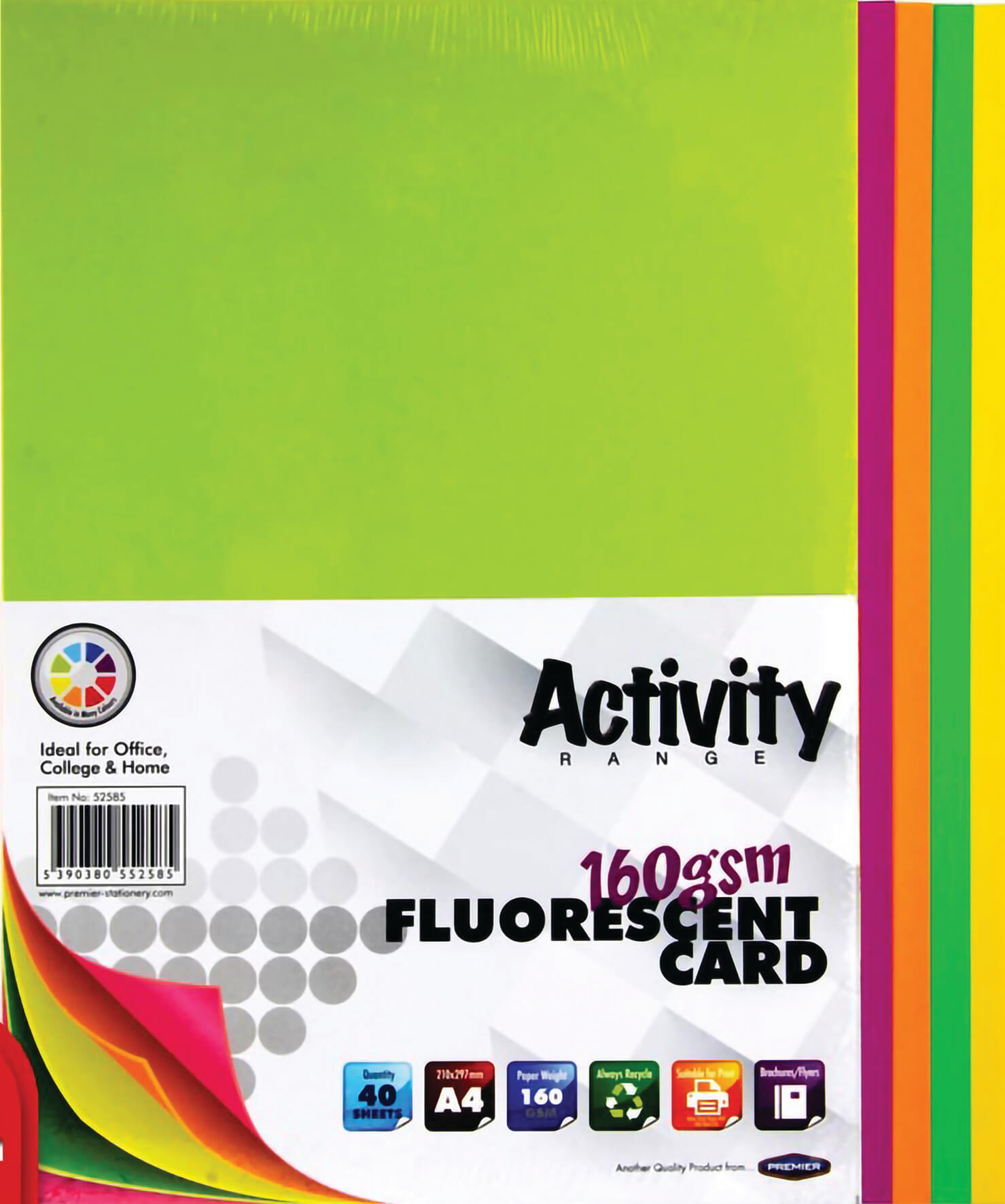 Card Fluorescent A4 160gsm - 40 Sheets