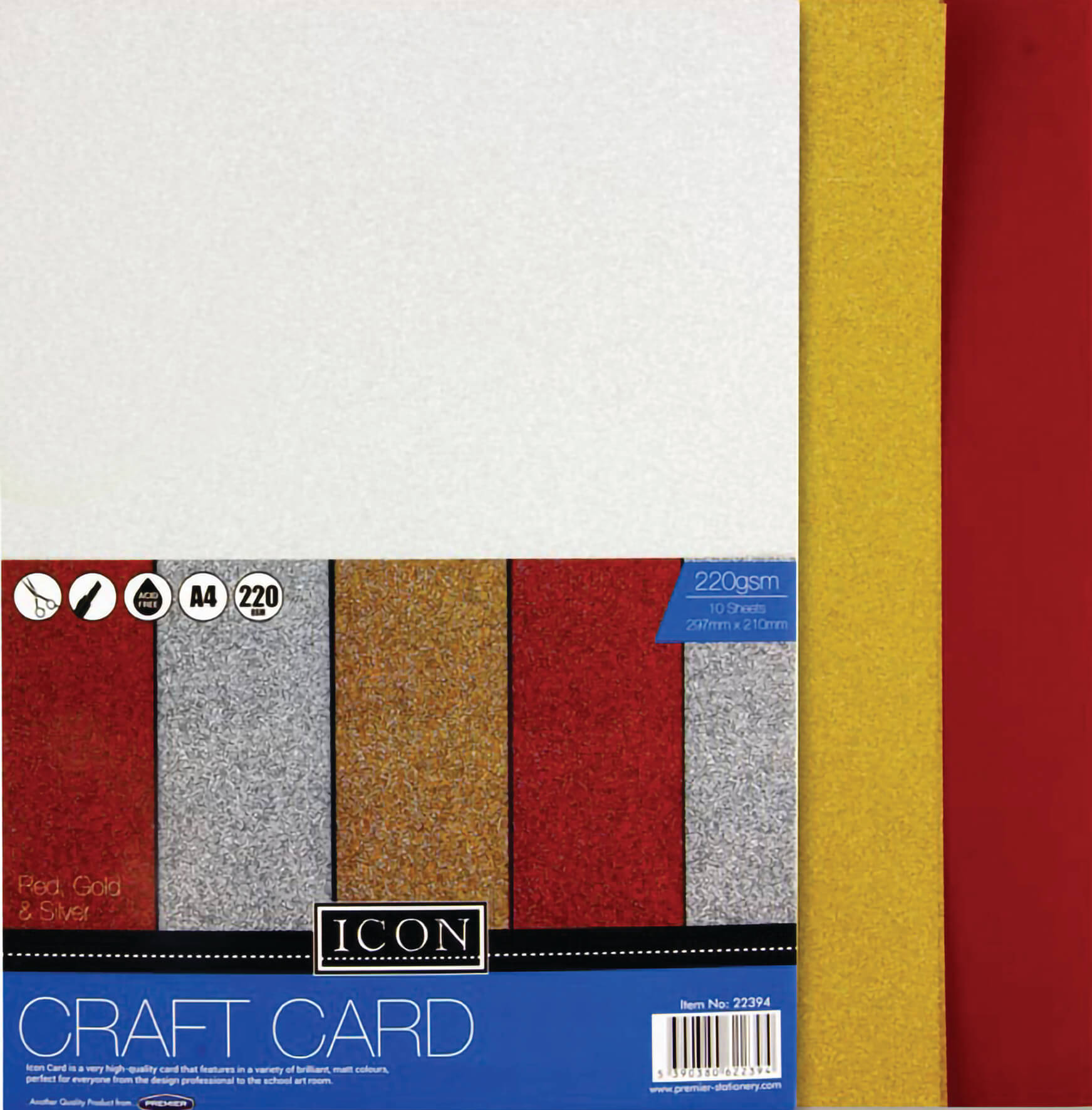 Craft Card Glitter A4 220gsm - Pack of 10