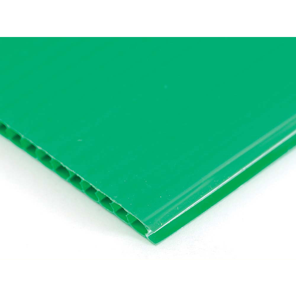 Plastic Corrugated 4mm Sheet - 1220 x 610mm - Pack of 10 - Green