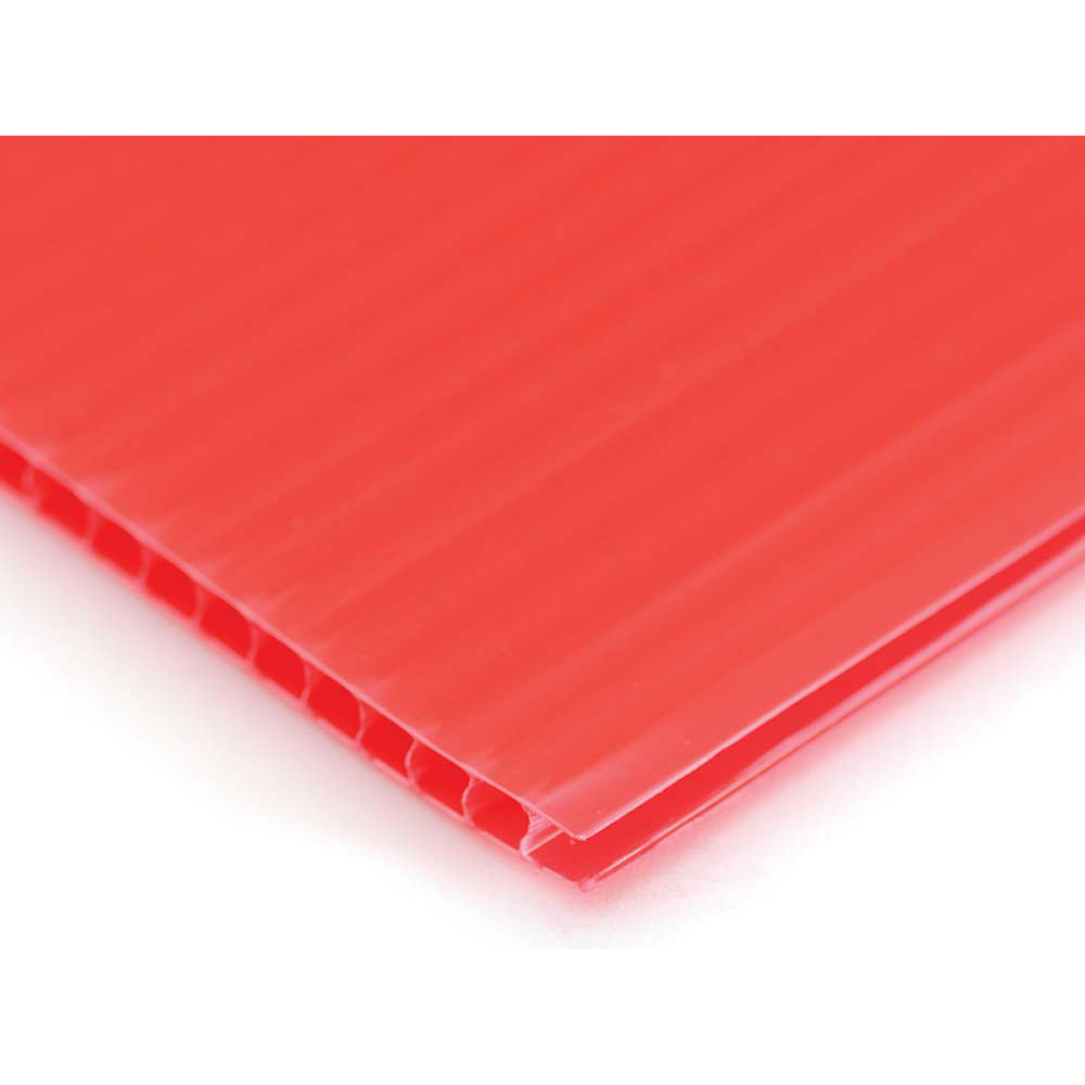 Plastic Corrugated 4mm Sheet - 1220 x 610mm - Pack of 10 - Red