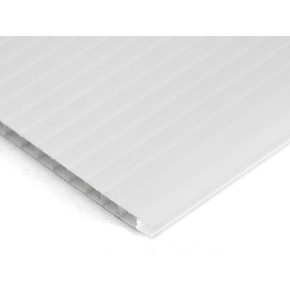 Plastic Corrugated 4mm Sheet - 1220 x 610mm - Pack of 10 - White