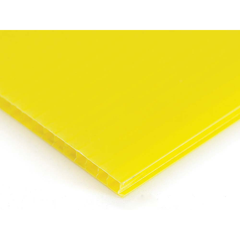 Plastic Corrugated 4mm Sheet - 1220 x 610mm - Pack of 10 - Yellow