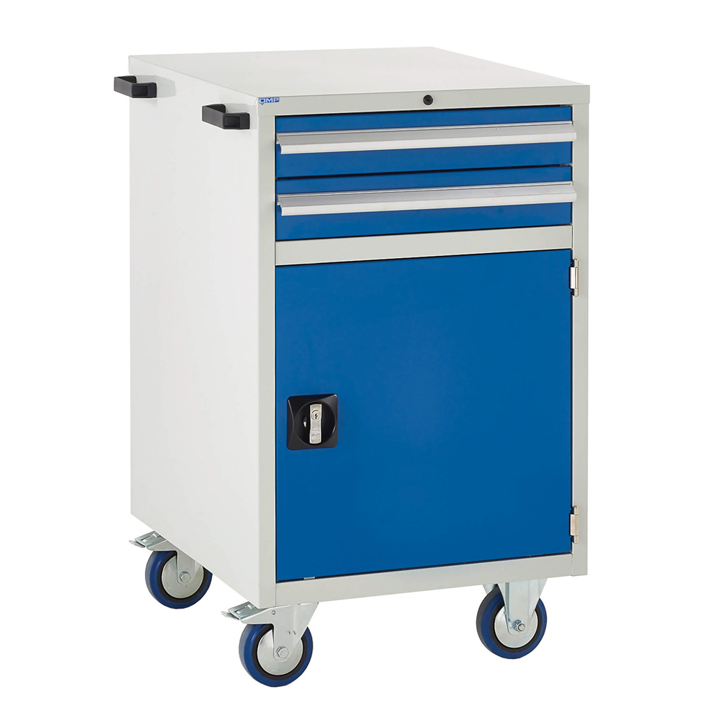 Edubench Mobile System -Combi H980mm x W600 x D650 (Grey Cabinet and Blue Doors)
