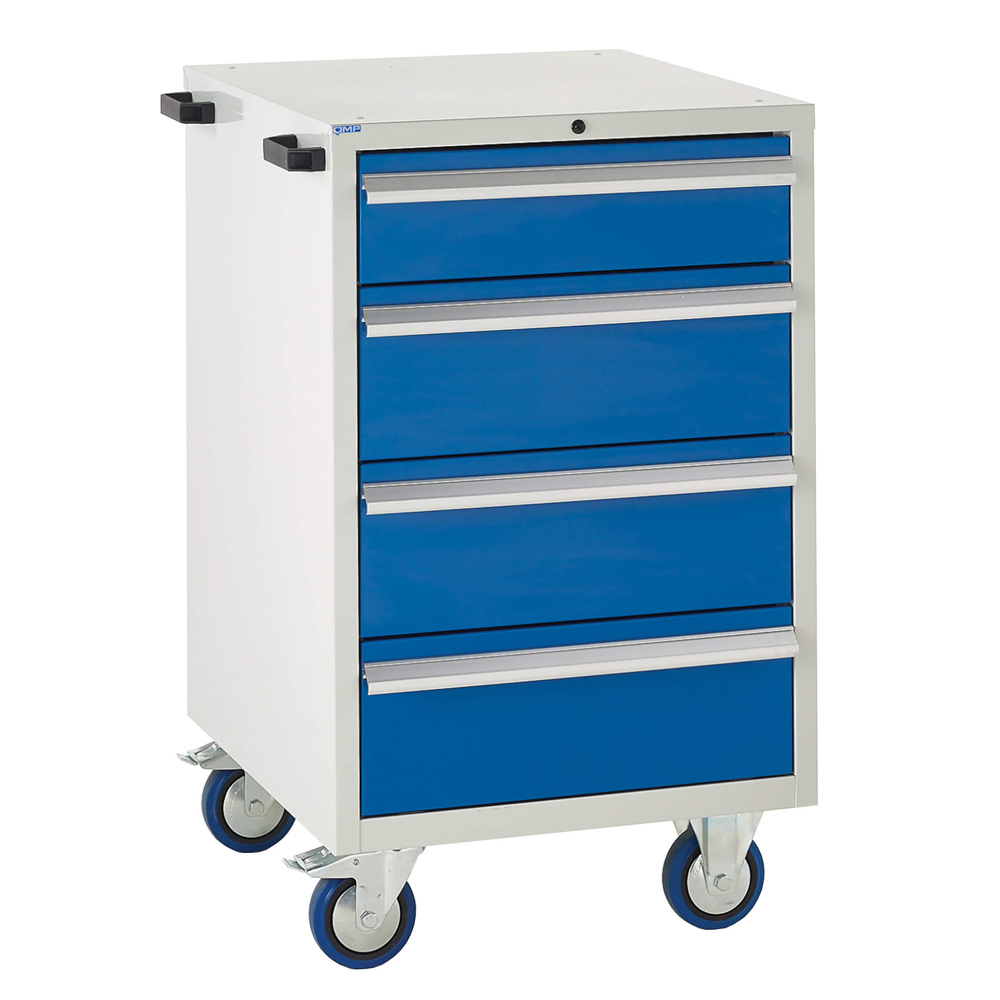 Edubench Mobile System - 4 Drawers H980mm x W600 x D650 (Grey Cabinet and Blue Doors)