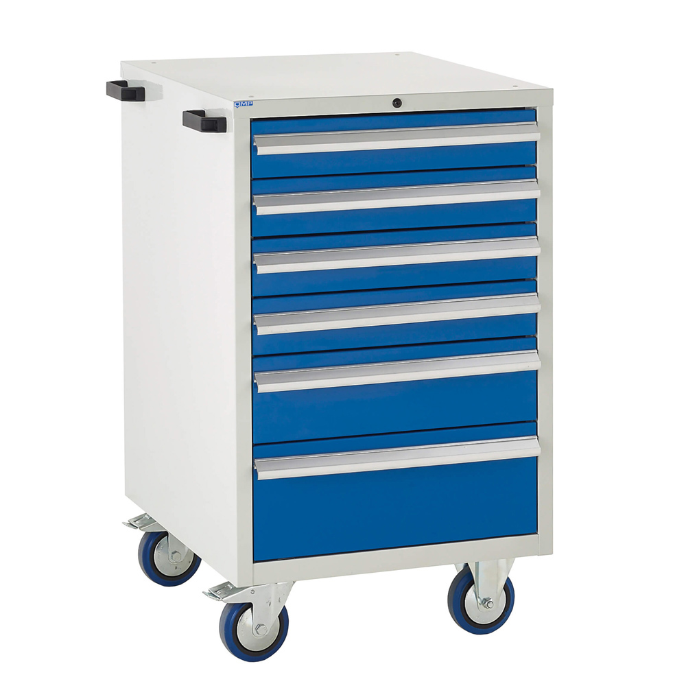 Edubench Mobile System - 6 Drawers H980mm x W600 x D650 (Grey Cabinet and Blue Doors)