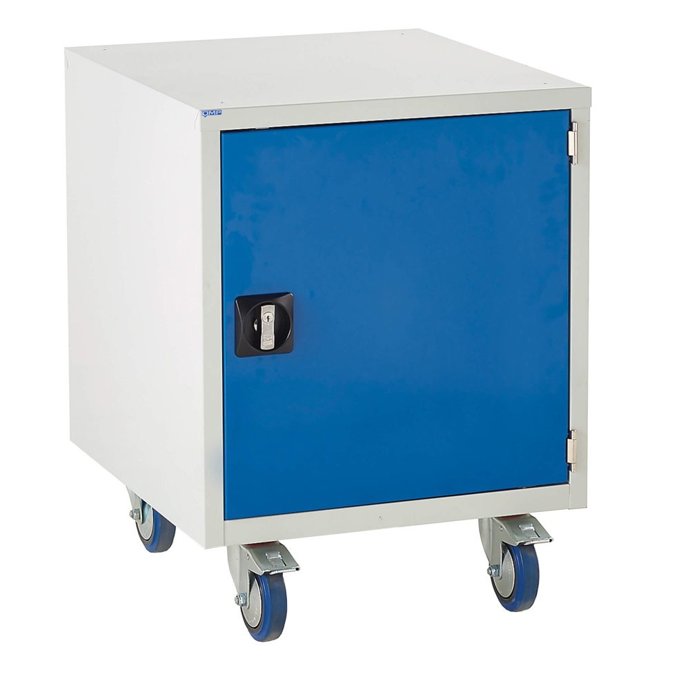 Edubench Roll'n'Park System - Cupboard H780mm x W600 x D650 (Grey Cabinet and Blue Doors)