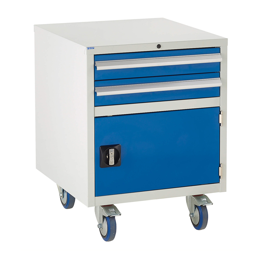 Edubench Roll'n'Park System -  Combi H780mm x W600 x D650 (Grey Cabinet and Blue Doors)