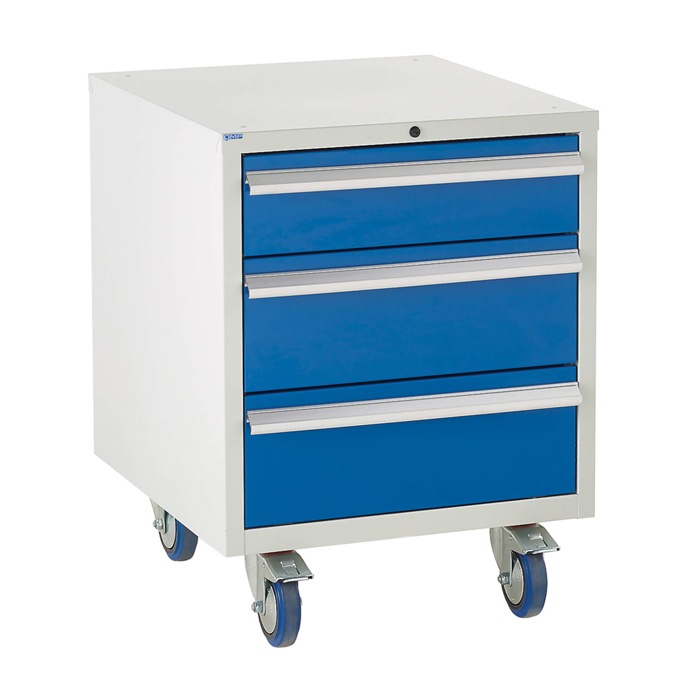 Edubench Roll'n'Park System - 4 Drawers H780mm x W600 x D650 (Grey Cabinet and Blue Doors)