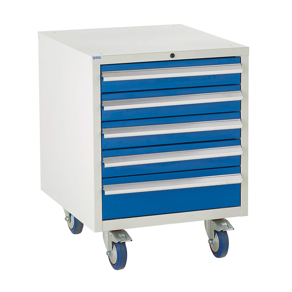 Edubench Roll'n'Park System - 6 Drawers H780mm x W600 x D650 (Grey Cabinet and Blue Doors)