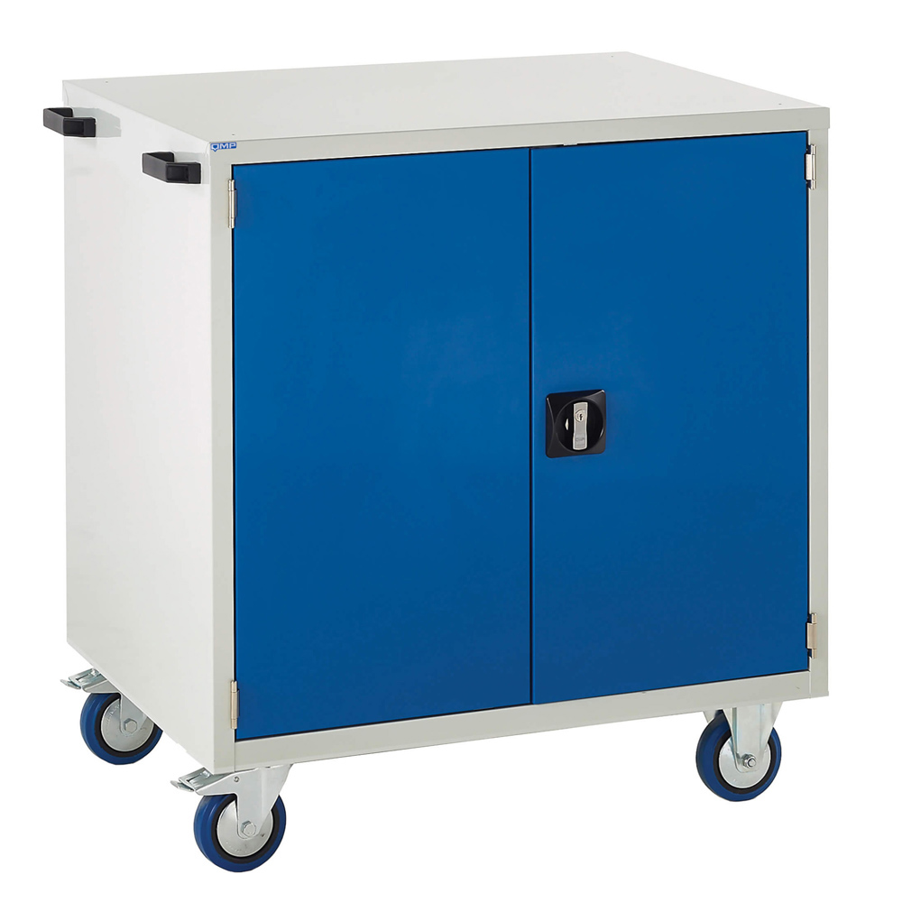 Edubench Mobile System - Cupboard H980mm x W900 x D650 (Grey Cabinet and Blue Doors)