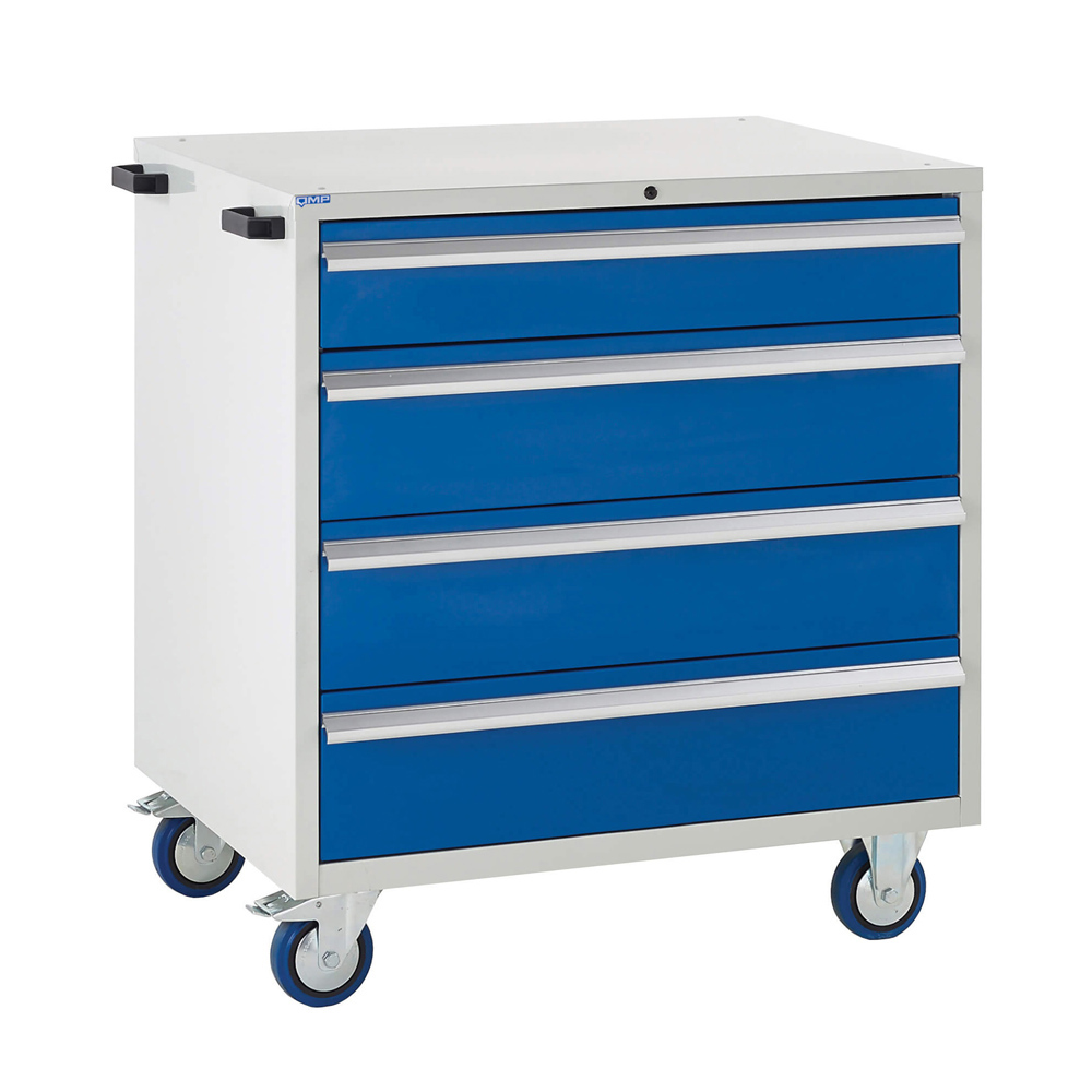 Edubench Mobile System - 4 Drawers H980mm x W900 x D650 (Grey Cabinet and Blue Doors)