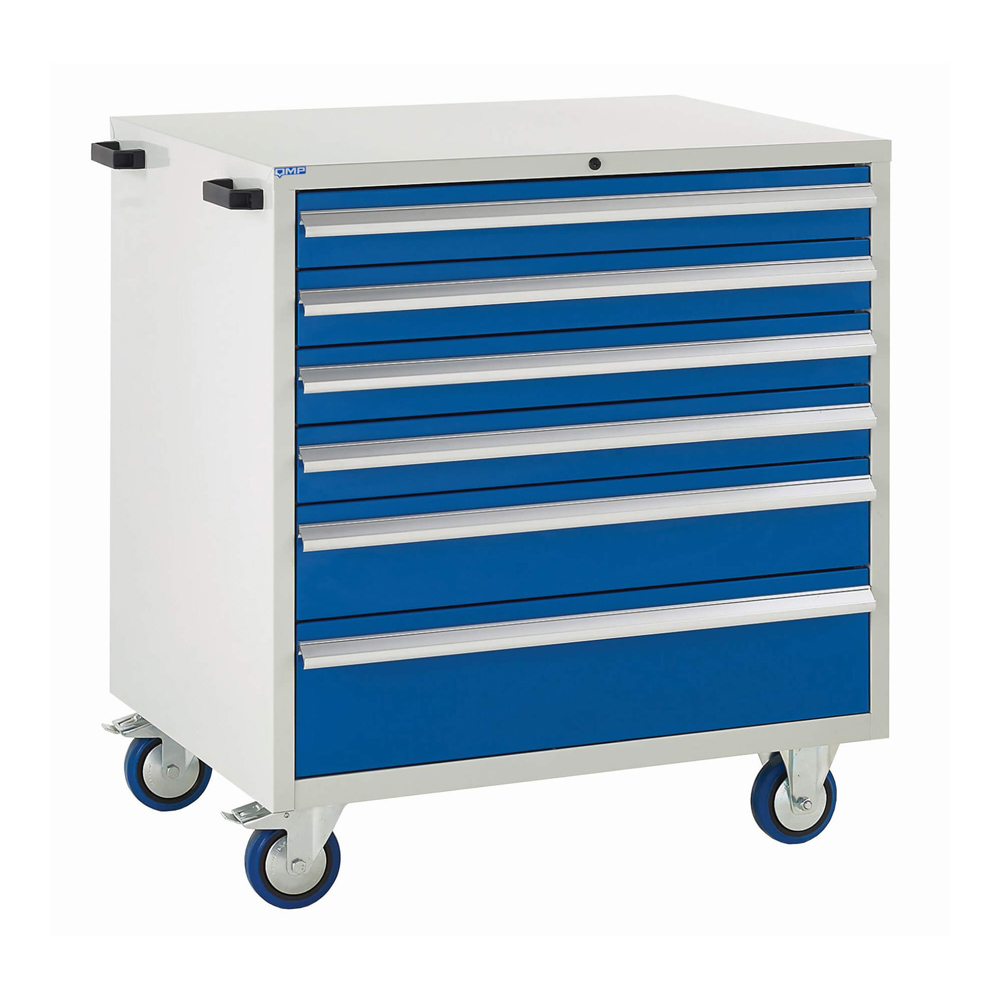 Edubench Mobile System - 6 Drawers H980mm x W900 x D650 (Grey Cabinet and Blue Doors)