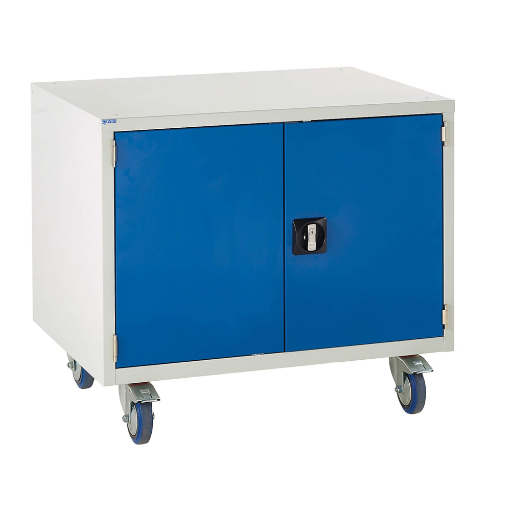 Edubench Roll'n'Park System - Cupboard H780mm x W900 x D650 (Grey Cabinet and Blue Doors)