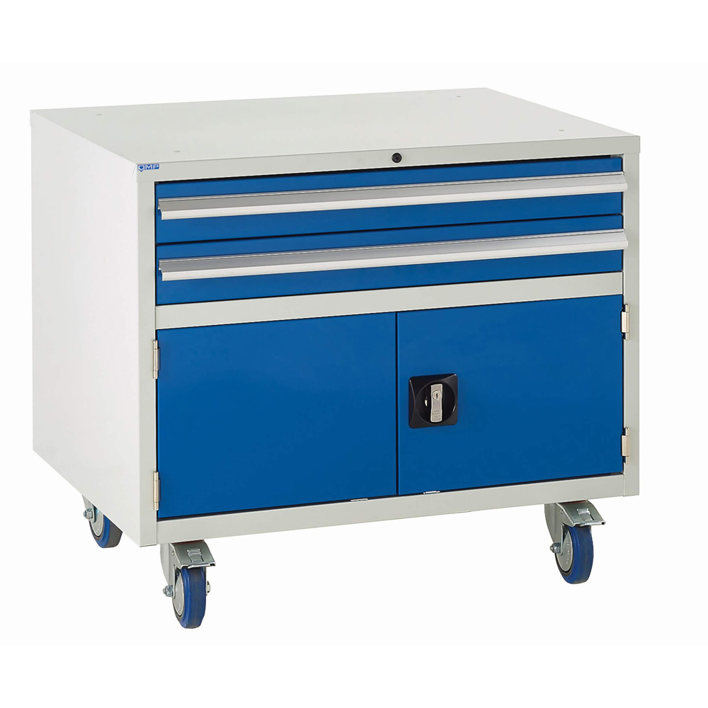 Edubench Roll'n'Park System - Combi  H780mm x W900 x D650 (Grey Cabinet and Blue Doors)