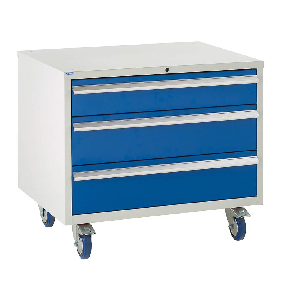 Edubench Roll'n'Park System - 4 Drawers H780mm x W900 x D650 (Grey Cabinet and Blue Doors)