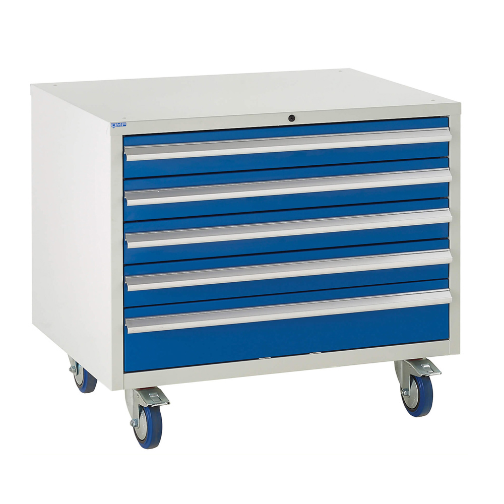 Edubench Roll'n'Park System - 6 Drawers H780mm x W900 x D650 (Grey Cabinet and Blue Doors)