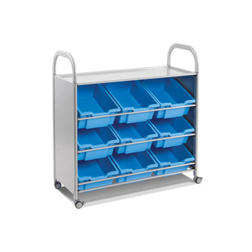 Gratnells Callero Tilted Tray Storage Unit, silver frame and blue trays - H1025mm x W1020 x D430