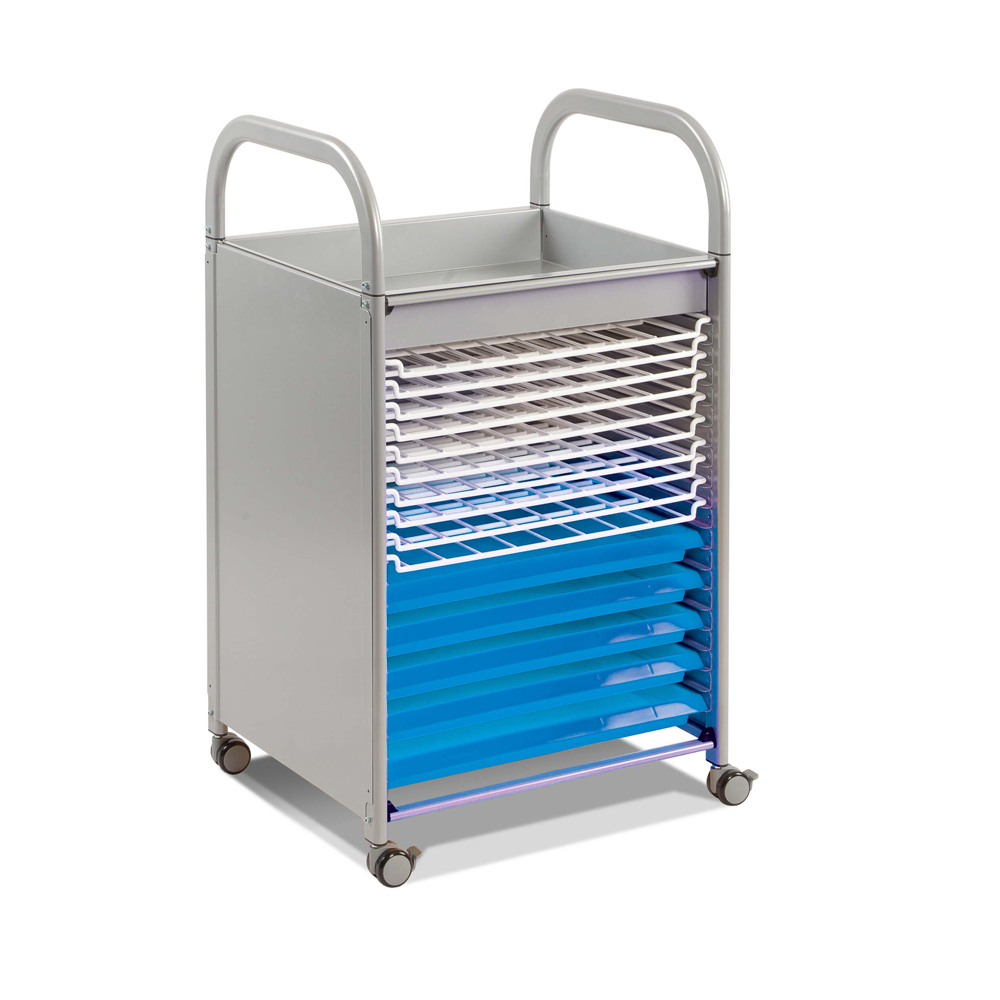 Gratnells Callero Art Trolley, silver frame and blue trays - H947mm x W570 x D500