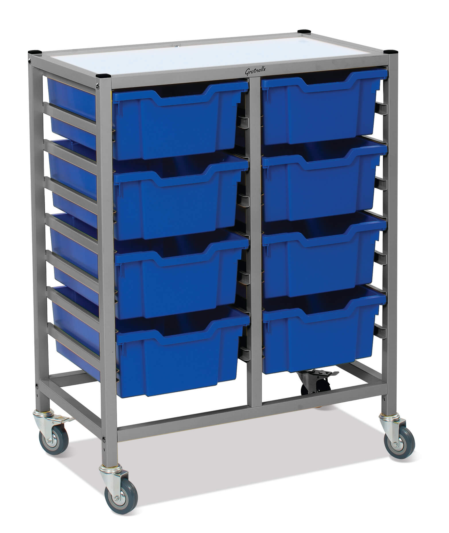 Gratnells Double Column Trolley Unit - 8 deep trays