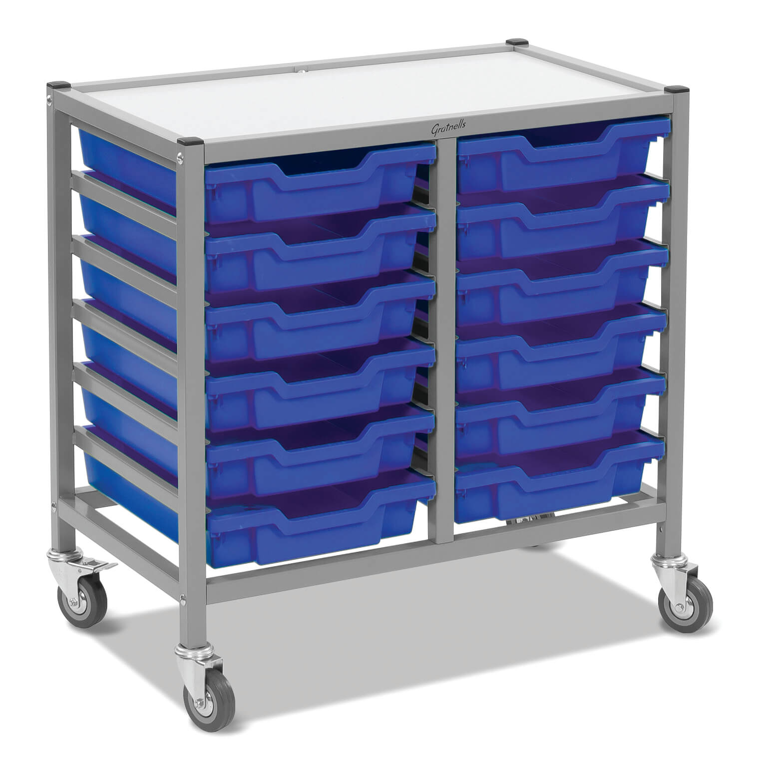 Gratnells Double Column Trolley Unit - 12 shallow trays