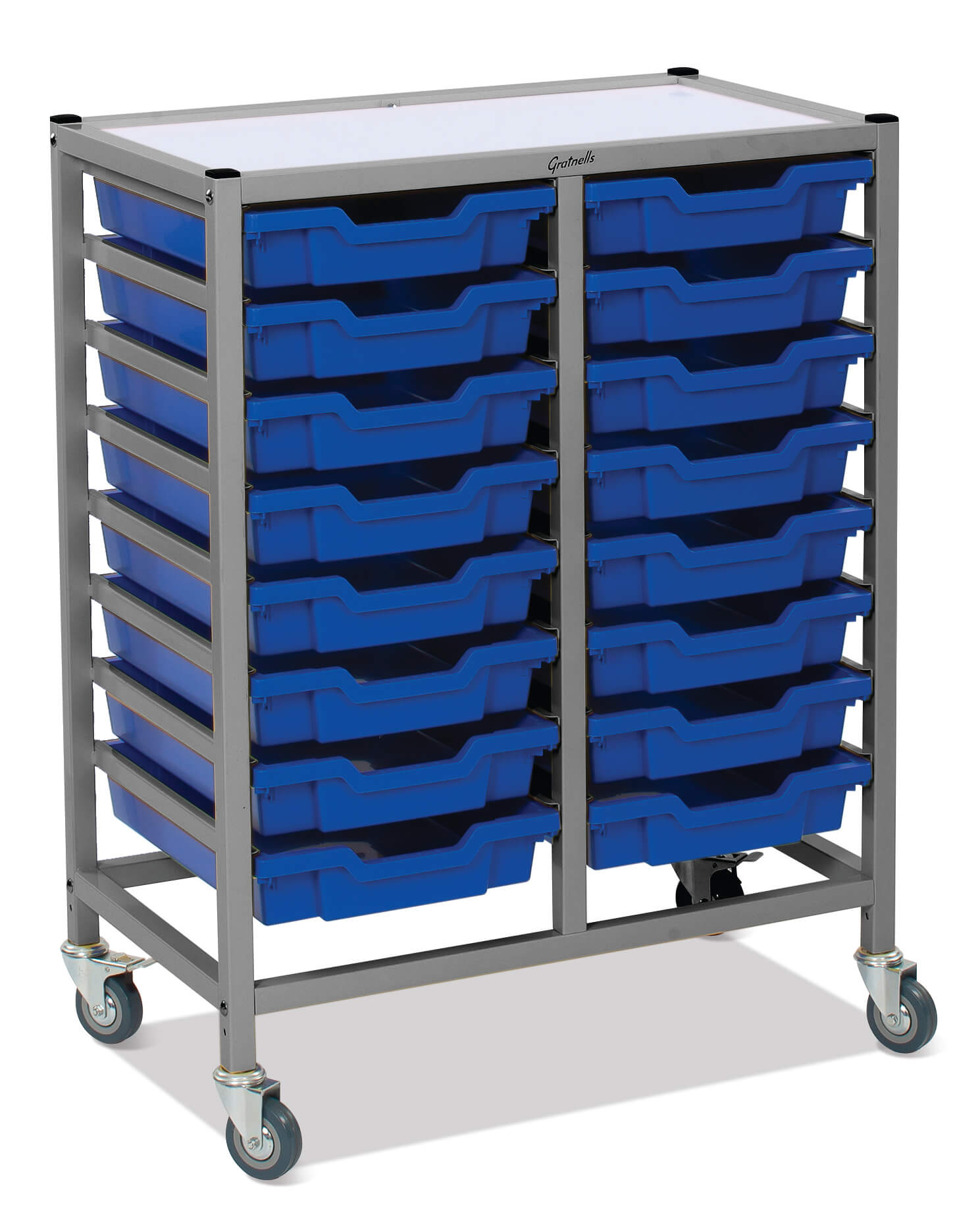 Gratnells Double Column Trolley Unit - 16 shallow trays