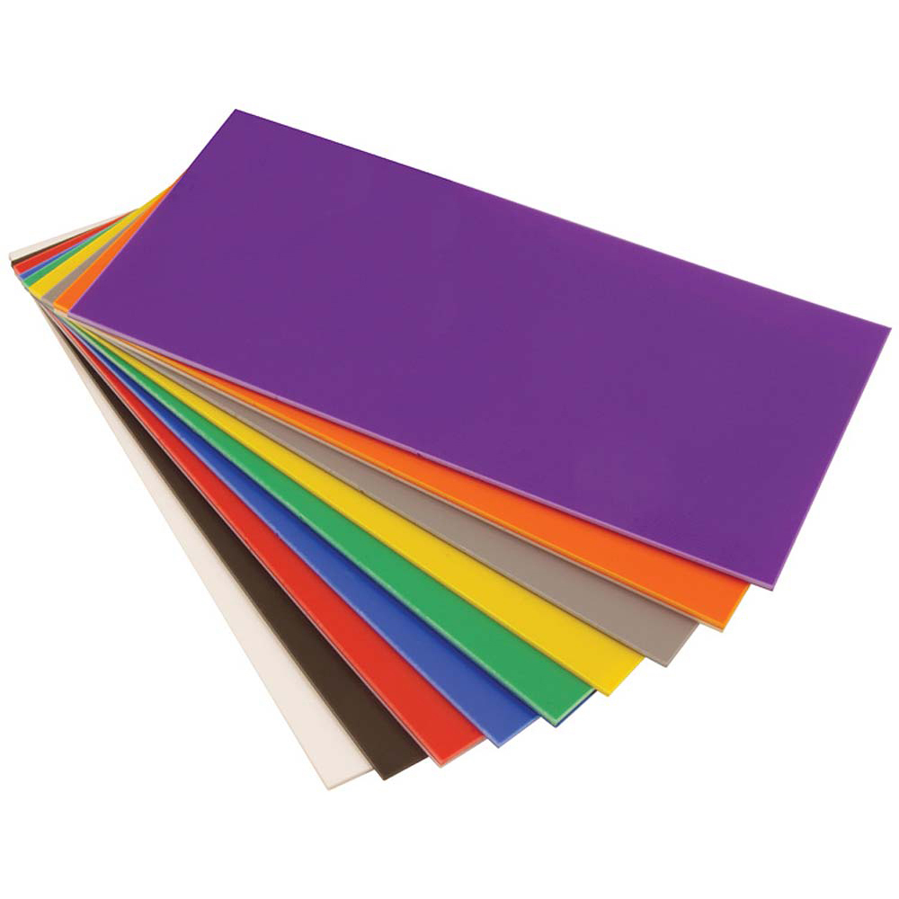 HIPS 2.0mm Sheets - 254 x 457mm - Pack of 100 - Assorted Colours