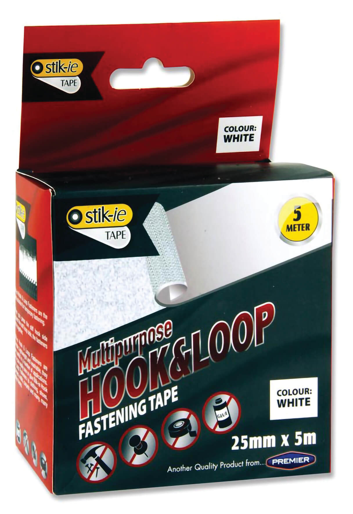 Hook & Loop Fastening Tape, White - 5m roll x 25mm