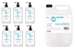 Class CLEAN Pack 1 : 1 x 5 litre & 6 x 500ml 70% Alcohol Hand Sanitiser Gel