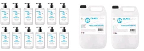Class CLEAN Pack 2 : 2 x 5 litre & 12 x 500ml 70% Alcohol Hand Sanitiser Gel