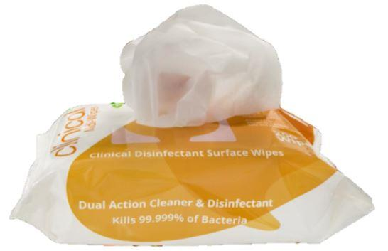Clinical Sanitising Surface Wipes: 200mm x 200mm - Pack 200